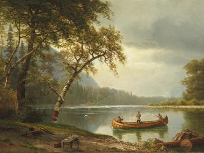Salmon Fishing on the Caspapediac River (Quebec, Canada) by Albert Bierstadt