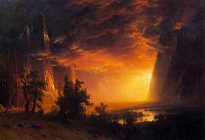 Albert Bierstadt Sunrise in Yosemite Valley Art Print Poster