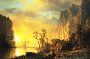 Sunset in the Rockies by Albert Bierstadt