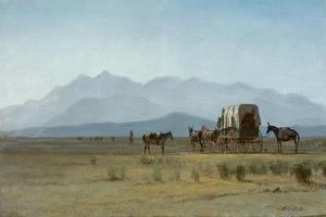 Surveyor's Wagon in the Rockies, C.1859 (Oil on Paper Mounted on Masonite) by Albert Bierstadt