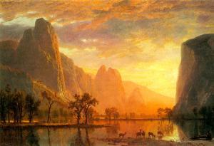 Albert Bierstadt Valley in Yosemite Art Print Poster