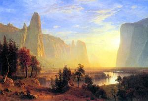 Albert Bierstadt Yosemite Valley Sun Rise Art Print Poster