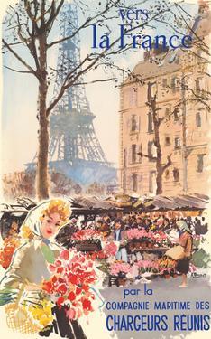 Vers la France (To France) - Paris - Eiffel Tower - Chargeurs Réunis by Albert Brenet