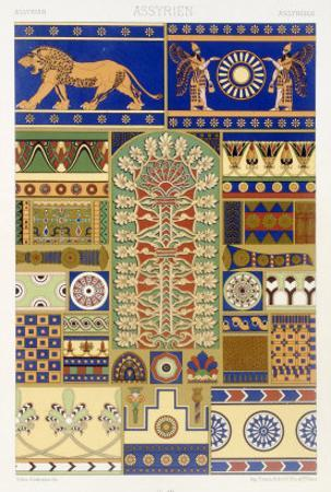 Assyrian Style, Plate XVII, Polychrome Ornament, Engraved by Dufour and Lebreton, Pub.Paris, 1869