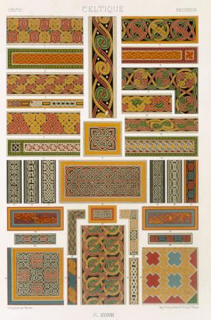 Celtic Style, Plate XXXVIII from Polychrome Ornament, Engraved by Painleve, c.1869