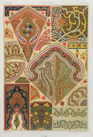 Indian Decoration, Plate Xix from 'Polychrome Ornament', Engraved by F. Durin, Published Paris 1869