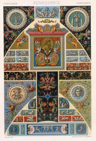 Renaissance Style Plate from Polychrome Ornament, Engraved by F. Durin, c.1869