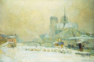 View of Notre Dame, Paris, from the Quai De La Tournelle: Snow Effect; Notre Dame De Paris, Vue…