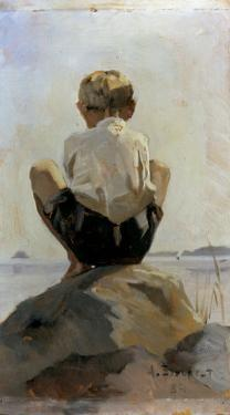 A Boy Crouching on a Rock by Albert Edelfelt