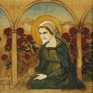 The Virgin Mary in the Rosegarden; Jungfru Maria I Rosengard by Albert Edelfelt