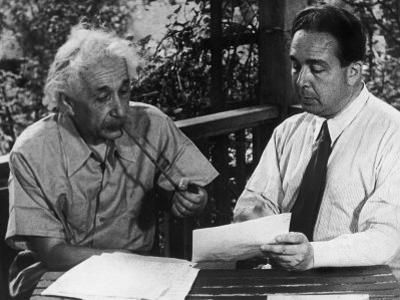 Albert Einstein, Leo Szilard Reenacting Signing Letter to Pres. Roosevelt Warning about Atomic Bomb