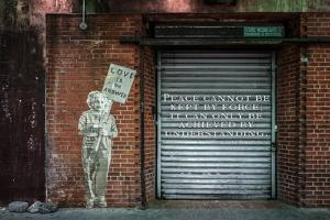 "Albert Einstein ""Love Is the Answer"" NYC Wall Scene with Quote"