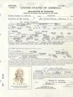 Albert Einstein's Petition for Naturalization