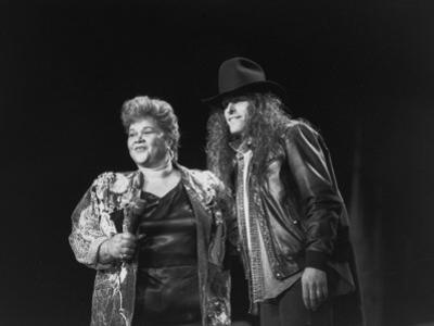 Etta James Performing with Ted Nugent on Stage at Country-Rock Crossover Concert in the Silverdome