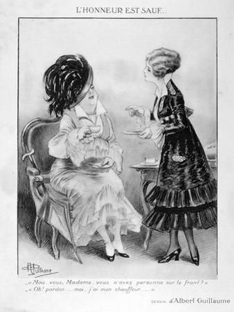 A Caricature About Two Bourgeois French Women, World War I, 1915