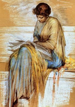 Female Figure Study (Pastel on Paper) by Albert Joseph Moore