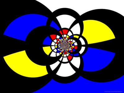 Abstract Blue, Red, Black and Yellow Fractal Design