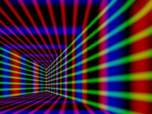 Abstract Design with Blue Red and Green Laser-Like Lines on Black Background by Albert Klein