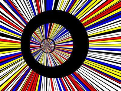 Abstract Fractal Design with Black Circles on Blue, Red, and Yellow Background