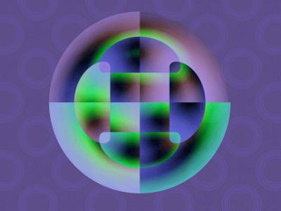 Abstract Green and Blue Fractal Pattern on Purple Background