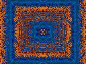 Blue and Orange Morrocan Style Fractal Design by Albert Klein
