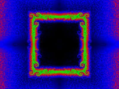 Green and Red Fractal Design on Blue Background