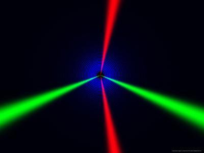 Red and Green Beams on Black Background with Blue Rings