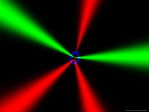 Red and Green Beams on Black Background by Albert Klein