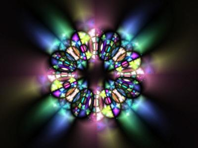 Stained Glass Style Pattern on Dark Background