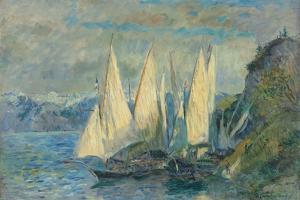Barques Aux Grandes Voiles Sur Le Lac Léman À Meillerie En Haute-Savoie by Albert Lebourg