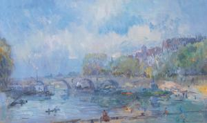 Le Pont Marie in Paris by Albert Lebourg