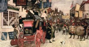 """The Election Parade at Eatanswill, from """"The Pickwick Papers"""" by Albert Ludovici II"""
