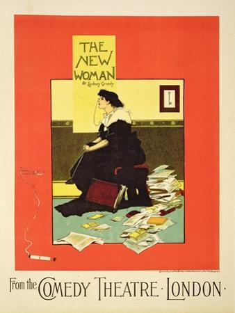 Advertising 'The New Woman' by Sydney Grundy, at the Comedy Theatre, London