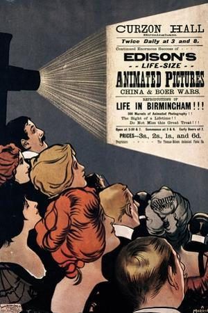 Poster Advertising Edison's Life Size Animated Pictures