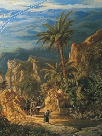 View of Suez Canal, Detail: Caravans and Palm Trees