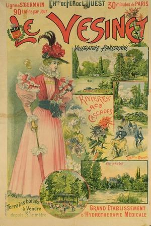 Poster for the Chemins de Fer de L'Ouest to Le Vesinet, circa 1895-1900