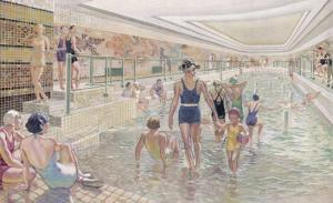 French Transatlantic Liner, The First Class Swimming Pool by Albert Sebille