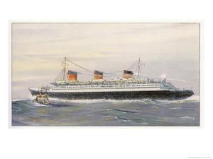 French Transatlantic Liner by Albert Sebille