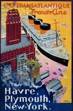 Transatlantique, French Line, Paris-Havre-New York by Albert Sebille