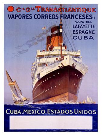 Transatlantique, Vapores Correos Franceses by Albert Sebille