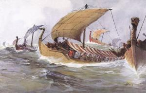 Viking Raiding Fleet Racing Across the North Sea by Albert Sebille
