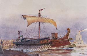 Warship of Imperial Rome is Rowed out of Harbour with Only a Light Sail Hoisted by Albert Sebille
