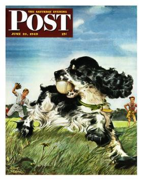 """Butch and Baseball,"" Saturday Evening Post Cover, June 18, 1949 by Albert Staehle"