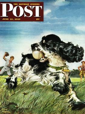 """""""Butch and Baseball,"""" Saturday Evening Post Cover, June 18, 1949 by Albert Staehle"""