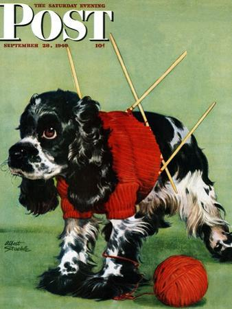 """""""Butch and Knitted Sweater,"""" Saturday Evening Post Cover, September 28, 1946"""