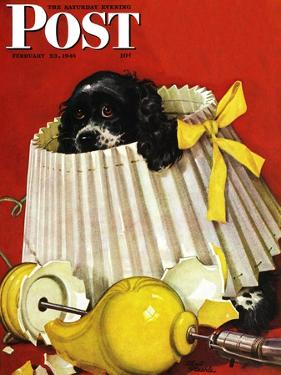 """Butch & Broken Lamp,"" Saturday Evening Post Cover, February 23, 1946 by Albert Staehle"