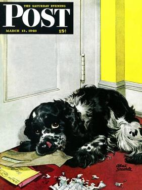 """Butch Chews the Mail,"" Saturday Evening Post Cover, March 13, 1948 by Albert Staehle"