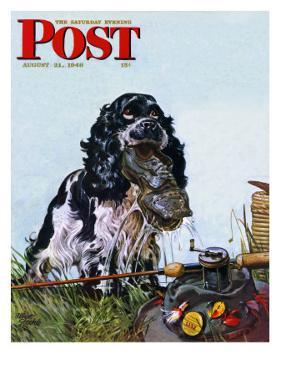 """Butch Fishes for a Shoe,"" Saturday Evening Post Cover, August 21, 1948 by Albert Staehle"