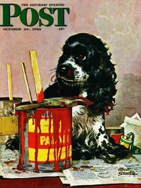 """""""Butch & Paint Cans,"""" Saturday Evening Post Cover, October 29, 1949 by Albert Staehle"""
