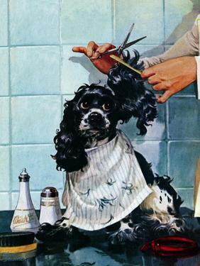 """""""Butch's Haircut,"""" January 31, 1948 by Albert Staehle"""